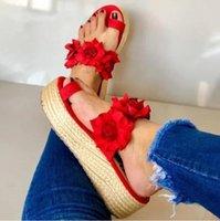 드레스 신발 패션 여성 여자 꽃 플랫 보헤미안 스타일 레이디 캐주얼 샌들 슬리퍼 비치 달콤한 웨지 플랫폼 샌들