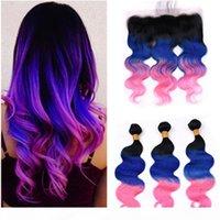 Brasilianisches menschliches Haar # 1b blau rosa ombre body wave 3bundles mit frontal 3tone ombre körper wellenförmige spitze frontal schließung 13x4 mit wräber