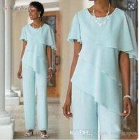 2021 New MInt Green Mother Pants Suits Wedding Guest Dress Chiffon Short Sleeve Tiered Mother of Bride Pant Suits Trousers