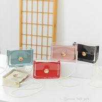 girls transparent handbags Women long pearl one shoulder strap lock small square bag kids mobile phone bags lady mini wallet 0F562