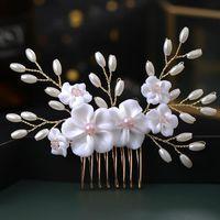 Hair Clips & Barrettes Female Comb Set Wedding Bridal Barrette Peach Blossom Rhinestone Christmas Hairstyle Jewelry