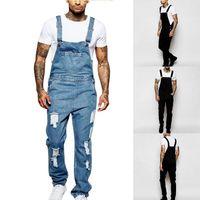 Men Denim Overalls Piece Full Length Ripped Jeans Jumpsuit Slim Casual Jean Pants Pantalon Homme