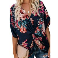 Women's T-Shirt Fashion Concise Bohemia Style Floral Printed V Neck Ruched Twist Tops Short Sleeve Loose Casual Vacation Shirts Beach St