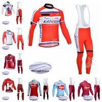 Katusha Cycling Winter Thermal Fleece Jersey Bib Pantalones Sets Sets Ciclismo Jersey Traje Bicicleta Hombre A prueba de viento Ropa portátil 102724