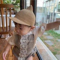 Pasgeboren baby baby meisje jongen schattige modellering kinderen stro hoed peuter kind solide koepel zonnescherm en windscherm 6m-18m