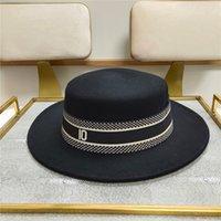 Роскошные дизайнерские шерстяные шапки бренда высококачественные модные ковш шляпа черные шляпы Fedora для женщин плоские шерстяные крышки