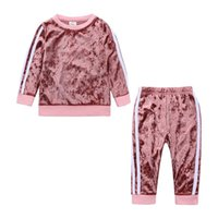 Clothing Sets 2021 Fashion Kids Baby Boy Girls Sports Clothes Toddler Girl Striped Velvet Spring Suit Hoodies Pants 2Pcs Outfit Set