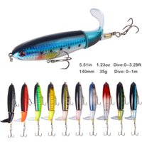 Whopper Popper Fishing Lures 14cm 35g Hard Baits Soft Rotating Tail Topwater Plopper Fishing Tackle Floating Wobblers