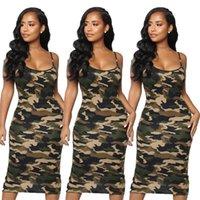 Casual Dresses Women Dress Summer Fashion Camouflage Print Bodycon Sleeveless Sundress Elegant Ladies Beach Party Sheath Clubwear