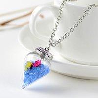 Anhänger Halsketten 2021 Original Drifting Flasche Lebendig Pendent Kegel Glas Halskette Kreative Natürliche Drift Sand Frauen Trockene Blume Mädchen Geschenk