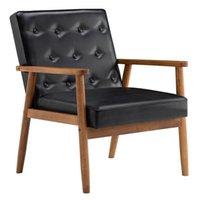 Sala de estar Mobiliário retro moderno tecido preto de madeira único sofá cadeira