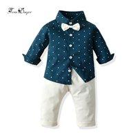 TEM Doger Bebek Giyim Setleri Sonbahar Yenidoğan Bebek Karikatür Gömlek + Pantolon Yürüyor Boys Spor Giysileri için 2 adet 210309