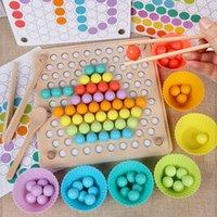 Cuentas de madera Juego Montessori Educativo Early Learn Children Clip Ball Puzzle Preeschool Toddler Toys regalos para niños
