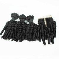 Perulu teyze funmi insan saçı ile 4 * 4 dantel kapatma romantizm curls funmi saç 3bundles ile kapatma ile 4 adet lot peruvian saç kapatma