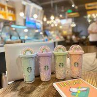 Moda Süblimasyon Boşlukları PC Su Şişesi Kupalar Su Isıtıcısı Kupası Kahve Bardakları Ile Erkekler ve Kadınlar Favori Starbucks Gökkuşağı Şeffaf Tumbler 401ml- 500 ml