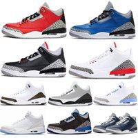 2021 3 Racer Mavi 3 S Basketbol Ayakkabıları Siyah Beyaz Erkekler Için Parçası Knicks Rakipler Michigan UNC Ateşi Kırmızı Çimento Mahkemesi Eğitmenler Spor Sneaker Tasarımcılar Boyutu 40-46