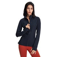L-106 Long Sleeve Shirts Women Running Sports Tops Lady Girl Fitness Suit Top with Thumbholes for Training Zipper Pocket Mesh Sports Jacket