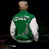 Bombardero unisex streetwear masculino chaquetas con letra bordado chaqueta hombres varsity empalme punk para el bloque de color moda verde ropa