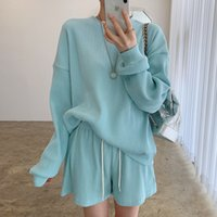 Women's Tracksuits Long-sleeve shirt, chic age-reducing, sweet-colored, round-neck neck, high-waist long leg, casual sports shorts OGE7