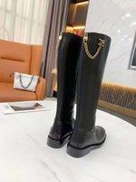 Newest Designer boots women shoes logo fashion luxury metal chain knee long elegant temperament solid cowhide good matching 34-40