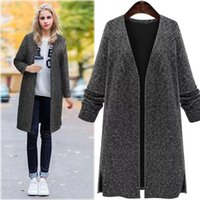 Women's Trench Coats Fashion Autumn And Winter Casual Loose Knitted Trenches With Long Sleeves