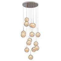 Kreatywny szklany żyrandol światło drut aluminiowy Nordic Wisiorek Światła Nowoczesne 15/18/24/30 / 36 / Pierścienie Długa linia wisząca Regulowany zawiera żarówkę