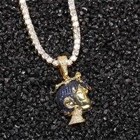 قلادة القلائد الهيب هوب مثلج من الزركون الملونة الكرتون الصبي الصغير قلادة الذهب والفضة مطلي مجوهرات مع سلسلة حبل