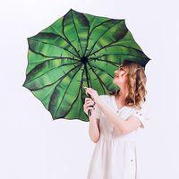 傘の緑のバナナの葉の傘のための傘のための傘のための梅雨と雨の日サンシェード紫外線保護具Parasol 3折りたたみアート油絵