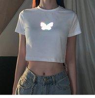 Женская футболка летняя корейская бабочка для печати футболка с коротким рукавом ретро хараджуку старинные черные белые твердые урожайные вершины женщины 2021