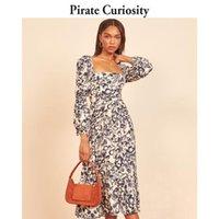 Pirate Curiosity Floral Plissado Midi Vestido Mulheres Verão 2021 Pescoço Quadrado Vestidos Elegantes Streetwear Fashion Party Vestido Longo