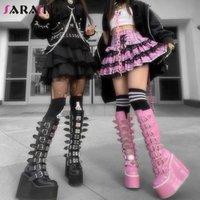 Sarairis Ins Women Wedges Metal Buckle Autumn Shoes Brand Classic Boots Fashion Luxury Platform Punk Ankle