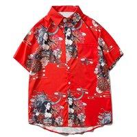 Alefric 2021 Yeni Eden Hip Hop İhale Assassin Baskı Japon Tarzı Hawaii Yaz Üstleri Gömlek Streetwear Kısa Kollu KW3V