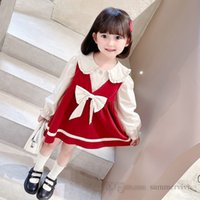 Christmas girls party clothes sets kids falbala lapel puff sleeve shirt+Bows V-neck corduroy vest dress 2pcs autumn children princess outfits Q2381