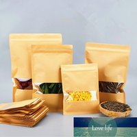 Flat Bottom Kraft Paper High Clear Window Zip Lock Bag Resealable Coffee Nuts Dried Fruits Heat Sealing Pack Storage Pouches Factory price expert design Quality