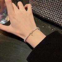 Link, Chain Punk Pearl Bow Geometric Bracelets Women's Vintage Beaded Metal Charm Bangles Bracelet Fashion Trend Jewelry Gift Elegant
