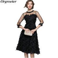 ORGRETER ESTATE DONNA DONNA Abito da ballo abito Vintage Nero Maglia Patchwork con fringed piume Flower Appliques Princess Dress 210525