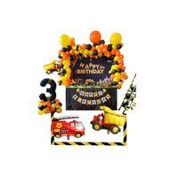 소년 생일 파티 호의 건설 파티 풍선 garland 노란 오렌지 풍선 배너 블랙 번호 ballon 키트