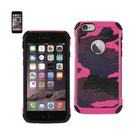 Reiko iPhone 6 Plus / 6S Plus Hybrid Leather Camouflage Case باللون الوردي