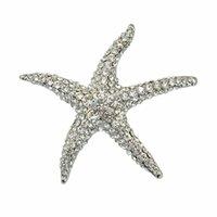 Starfish requintado broche strass definir broche branco k brocha dourada 380 T2