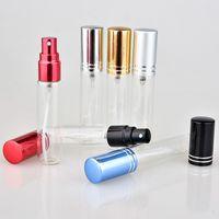 20 pçs / lote 5ml 10 ml 15ml transparente fino spray frasco amostra vidro frascos portátil mini perfume atomizador ouro sil