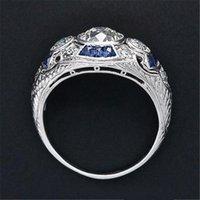 925 أنيلوس الفضة الرجعية المحكمة كاملة زركون الدائري سيدة أنيقة الأزرق كريستال الدائري مأدبة الياقوت