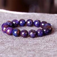 Sudafrica di alta qualità di alta qualità naturale vera viola blu sugirite finitura trazione braccialetto rotondo grandi perline 13mm 05016 0308