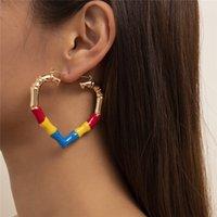 Retro Heart Drop Oil Splicing Stud Earrings Geometric Contrast Color Love Ear Nail European Women Hollow Out Punk Party Large Earring Jewelry Wholesale