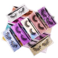 1Pair 3D Mink Eyelashes Glitter Extension J010 Preto Cinzas Natural Falso Cabelo Sintético Maquiagem Do Olho + Escova Eyelash