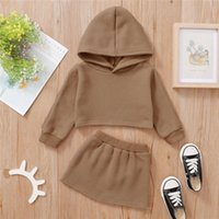 Clothing Sets Spring Autumn Baby Girl Hoodies 2 Pieces Kids Suit Solid Color Long Sleeve Hooded Sweatshirt Pullover Skirt Toddler