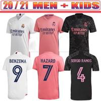 Homens Crianças + Meias Real Madrid Soccer Jersey Quarto 20 21 Hazard Asensio Sergio Ramos Camiseta 2020 2021 Vini JR Mendy Jogador Camisas de futebol