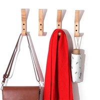 Ganchos de pared de madera creativos toalla abrigo sombrero perchas de roble madera montado en pared ganchos llave porta puerta de almacenamiento rack organizador 1313 t2