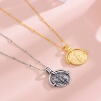 Crescent hip hop geometric coin circular necklace female fashion temperament retro Roman letters clavicle chain necklace 18K gold plated