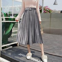 Skirts Plus Size High Waist With Belt Skirt Women Autumn Winter Velvet Long Pleated Office Ladies Maxi Metallic Streetwear