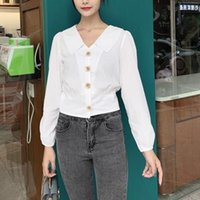 Women's T-Shirt Korea Style Button Up Office T Shirts Women White Long Sleeve Solid Autumn Tshirt Streetwear Clothing Camisetas Mujer